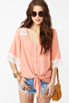 Peach Lace Tie Top.