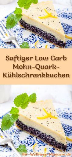 Rezept für einen saftigen Low Carb Mohn-Quark-Kuchen: Der kohlenhydratarme Kühlschrankkuchen wird ohne Zucker und Getreidemehl zubereitet. Er ist kalorienreduziert, ...