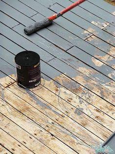 Deckover Deck Paint - Not your ordinary paint Cool Deck, Diy Deck, Behr Deckover Reviews, Deck Over Paint, Behr Deck Paint, Restore Deck Paint, Stain Over Paint, Painted Wood Deck, Painted Outdoor Decks