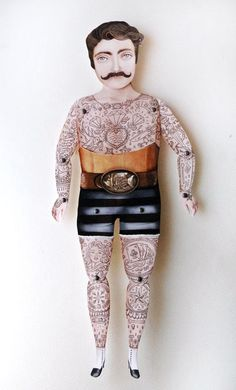Almost looks like Ron Swanson.(via Victorian Tattooed Tough Guy Paper Puppet by crankbunny on Etsy) Paper Puppets, Paper Toys, Vintage Circus, Vintage Paper, Stop Motion, Classe D'art, Tattoo Paper, Paper People, Ideias Diy