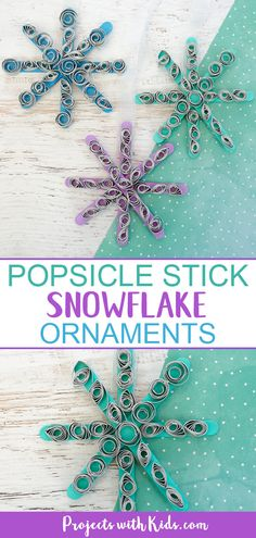 Popsicle Stick Snowflake Ornaments Kids will have fun making these popsicle stick snowflakes with easy paper quilling! Icy colored popsicle sticks and silver paper make this ornament craft a beautiful addition to any Christmas tree. Popsicle Stick Snowflake, Snowflake Craft, Popsicle Stick Crafts, Snowflake Ornaments, Popsicle Sticks, Snowflakes, Christmas Ornaments, Winter Crafts For Kids, Crafts For Kids To Make