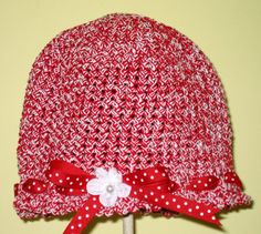 Crocheted Beanie Hat with ruffle edging by krantwist on Etsy, $26.99