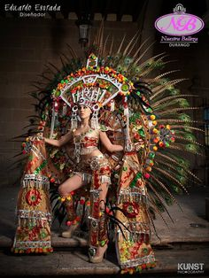 """Miss Universe Mexico Karina Gonzalez: Aztec Queen on Testosterone ! This is what """"Miss Universe Pageant"""" costumes are all about. Mexican Art, Mexican Style, Aztec Culture, Mexican Heritage, Inka, Aztec Warrior, Aztec Art, Native American Women, Chicano Art"""