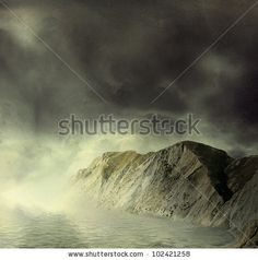 stock photo : Landscape.  Mountains and sea in mist