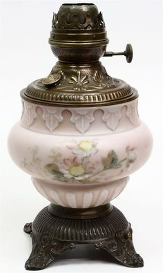 PITTSBURGH LAMP BRASS SUCCESS FOUNT PINK FLORAL GLASS BASE Electrified AS-IS