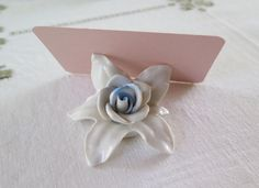 Dresden Porcelain Roses Pale Blue Roses 13 Baby Shower Wedding Table Decor Place Card Holders Bridal Shower Name Tags Baby Boy by TitoWanderlust on Etsy