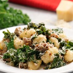 One Pan Gnocchi Sausage and Kale. So delicious and so easy to make! Made with tender store bought gnocchi, fresh kale and flavorful Italian sausage. Plus easy clean up! Kale Recipes, Salmon Recipes, New Recipes, Soup Recipes, Cooking Recipes, Healthy Recipes, Pasta Recipes, Healthy Soup, Cooking Tips