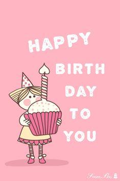Happy Birthday wish on illustration of Little Girl holding a birthday cake. Happy Birthday Little Brother, Happy Birthday My Love, Happy Birthday Meme, Birthday Wishes Quotes, Happy Birthday Messages, Happy Birthday Images, Happy Birthday Greetings, Birthday Memes, Birthday Cards