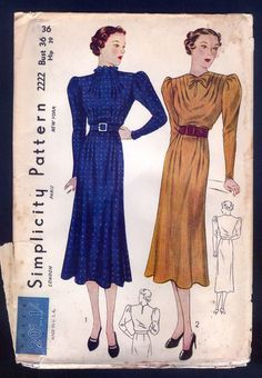 1930 Simplicity Pattern - Ladies' Dress With Draped Pleats Size 36 Inch Bust, and 39 Inch Hip.   Envelope age distressed as shown.  Pattern is factory folded and unused. complete sld 22+4 2/8/16