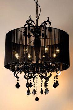 Black chandelier.