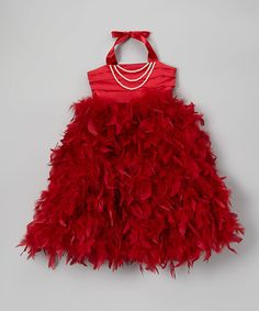 Look at this Bébé Oh La La Cerise Red Feather Pearl Halter Dress - Toddler & Girls on today! Toddler Girl Dresses, Toddler Girls, Girls Dresses, Cute Girl Outfits, Cute Outfits For Kids, Fashion Kids, Robes Tutu, Red Feather, Baby Couture