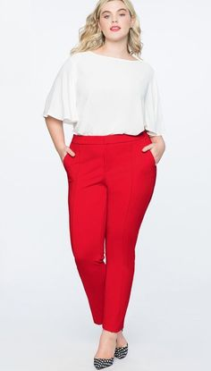 Plus Size Red Pants Work Outfits - Plus Size Work Wear - Plus Size Fashion  for de33e05378