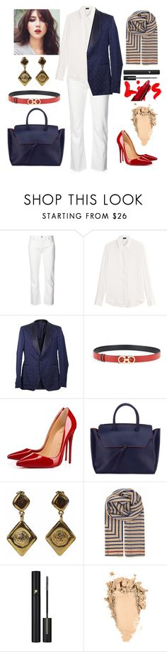 """how to wear men's jacket"" by o-ksimm ❤ liked on Polyvore featuring Nili Lotan, Joseph, Salvatore Ferragamo, Christian Louboutin, Alexandra de Curtis, Chanel, BeckSöndergaard and Lancôme"