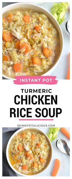 Instant Pot Turmeric Chicken Rice Soup is the best traditional soup made quicklyin a pressure cooker. It's light wholesome and has an anti-inflammatory boost. A simple healthy and nutritious meal. Turmeric Soup, Best Nutrition Food, Nutrition Products, Crock Pot Soup, Healthy Soup Recipes, Freezer Recipes, Freezer Cooking, Drink Recipes, Pressure Cooker Recipes