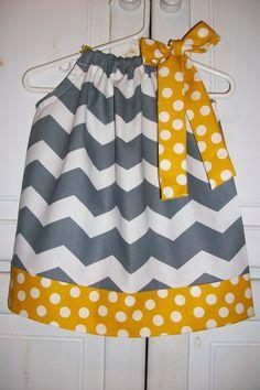 Pillowcase Dress CHEVRON Grey with Yellow Dots Spring baby toddler girl