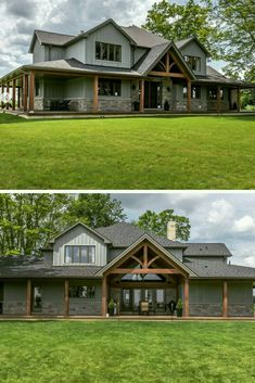 All About Metal Building Homes This is definitely one of the most beautiful metal building home. It has huge porch and very trendy grey exterior. If you plan to build metal home you have to read this! The post All About Metal Bui Metal Building Homes, Metal Homes, Building A House, Morton Building Homes, Building Exterior, Barn House Plans, Dream House Plans, Metal House Plans, Rustic House Plans