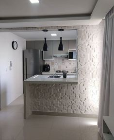 A kitchen island dream for any tiny apartment. Space does not reflect the quality ? Design your house with Kitchen Room Design, Kitchen Cabinet Design, Modern Kitchen Design, Home Decor Kitchen, Interior Design Kitchen, Kitchen Colors, Small Apartment Kitchen, Loft Design, Design Your Home