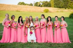 Bridesmaid Dresses: Bill Levkoff from Blushing Brides} # Bright pink Hot Pink Bridesmaids, Light Pink Bridesmaid Dresses, Bridesmaids And Groomsmen, Junior Bridesmaid Dresses, Wedding Bridesmaids, Wedding Dress Chiffon, Wedding Dresses, Dream Wedding, Daisy Wedding