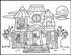 Haunted House Printable Halloween Kids Coloring Page Fall