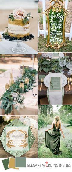 gold and green spring garden wedding color ideas