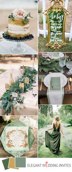 gold and green spring garden wedding color ideas