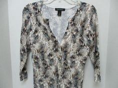 White House Black Market Metallic Snake Print Cardigan Sweater Sz S Small  #WhiteHouseBlackMarket #Cardigan