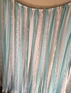 Telón de fondo plata y Tiffany azul telón de fondo de tela