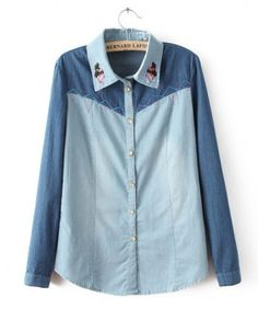 NEW ARRIVAL FASHION LADIES' VINTAGE DOLL COLLAR EMBROIDERED MIXED COLORS LONG-SLEEVED DENIM SHIRT ST894