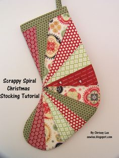 free simple christmas stocking sewing patterns | Sew Lux Fabric and Gifts Blog: Scrappy Spiral Stocking Tutorial