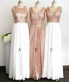 Gliiter Rose Gold Sequins Bridesmaid Dress White Chiffon Long Bridesmaid Dresses Custom Color Formal Women Prom Dress For Bridal Wedding