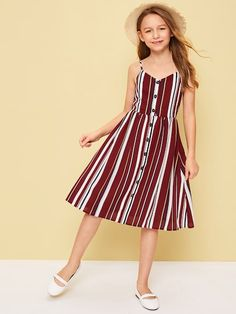 To find out about the Girls Button Up Striped Cami Dress at SHEIN, part of our latest Girls Dresses ready to shop online today! Baby Girl Dress Patterns, Dresses Kids Girl, Cute Girl Outfits, Cute Dresses, Kids Outfits, Baby Frocks Designs, Frock Design, Indian Designer Outfits, Tween Fashion