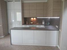 П-образная кухня в стиле модерн (беж,белый и серый)