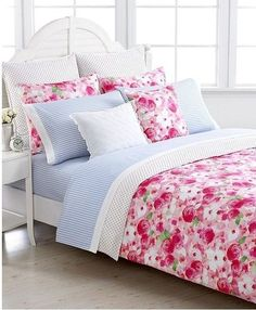 Tommy Hilfiger Rose Cottage Girl's Twin Duvet Set Pink White Shabby Chic Floral…
