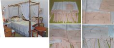 Xale para cama com dossel. Conjunto de 4 peças em voal liso branco com fitas de amarração, barrado e 4 laços em cetim branco (utilizado o lado opaco do cetim para o lado de fora). Decorative fly net.