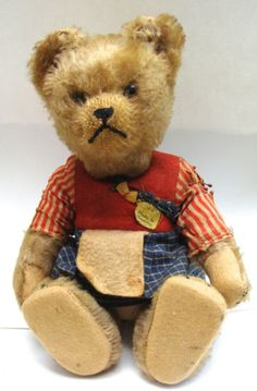 RARE-Antique-Teddy-Bear-Steiff-Schuco-Yes-No-Jointed-Mohair-Straw-9-High