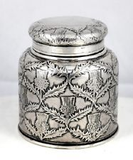 19th Century Tiffany & Co Sterling Silver Thistle Patterned Inkwell Ink Well