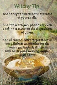 Witchy Tip: Honey Green Witchcraft, Magick Spells, Wiccan Witch, Jar Spells, Hoodoo Spells, Magick Book, Pompeii, Hedge Witch, Eclectic Witch