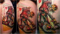 King of hearts tattoo--Artist Alexandre Ver U Edssimo King Tattoos, Body Art Tattoos, Tattoo Drawings, Cool Tattoos, Awesome Tattoos, Tatoos, Card Tattoo, Tattoo You, King Of Hearts Tattoo
