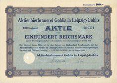 Aktienbierbrauerei Gohlis Aktie 100 RM 1925