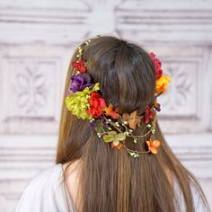 Vibrant fall colored flowers are arranged and accented with leaves and berries on a natural bark wrapped crown. This exquisite headpiece fits a head size of approximately 21.5 to 22.5 inches.  This lovely is ready to ship!  Please convo me with any questions or requests! Thanks for shopping!  Please read my very important shop policies before making your purchase or convo me with any questions. All sales are final!  Visit my shop for more accessories, jewelry and special offers! http:/&#...