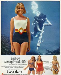 Vintage Tweka advertentie uit 1966 Childhood Memories, Bathing Suits, Cover Up, Take That, One Piece, Lingerie, Women Bikini, Swimwear, Vintage