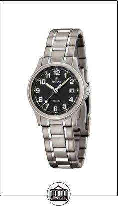 Festina F16459/3 - Reloj analógico de cuarzo para mujer, correa de titanio color gris  ✿ Relojes para mujer - (Gama media/alta) ✿