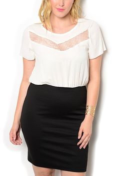 http://www.dhstyles.com/Ivory-Black-Plus-Size-Trendy-Sheer-Fitted-Short-Sl-p/ange-71265x-ivory-black.htm