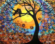 """LOVE BIRDS""   ARTIST MARIANA STAUFFER    http://www.etsy.com/listing/89554847/original-acrylic-bird-tree-painting-love"