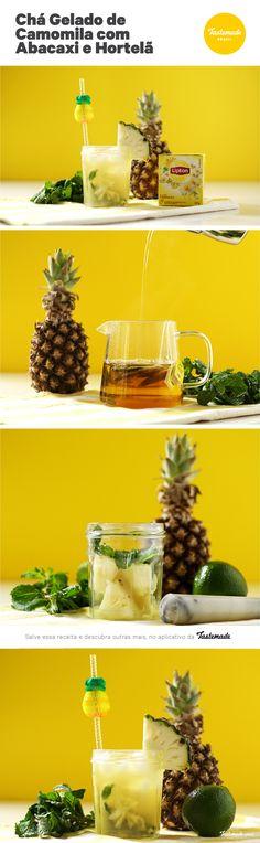 Esse chá gelado de camomila, abacaxi e hortelã vai ser indispensável nas temperaturas quentes do verão!   Receita completa: https://bit.ly/2BGLGUa
