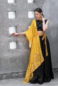 Black Drape Skirt With Mustard Jacket Indian Fashion Dresses, Indian Bridal Outfits, Indian Gowns Dresses, Dress Indian Style, Indian Designer Outfits, Indian Skirt, Fashion Outfits, Choli Designs, Lehenga Designs