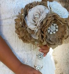 Tan and White Burlap Flower Bridal Bouquet Rustic by SignMePretty