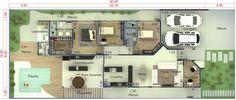 Casa planta baja con espacio gourmet. Plano para terreno 12x30