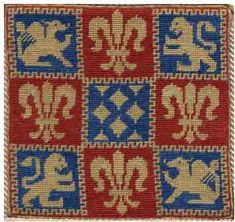 free chart cross stitch lions and fleur de lis Medieval Embroidery, Modern Embroidery, Cross Stitch Embroidery, Embroidery Patterns, Cross Stitch Designs, Cross Stitch Patterns, Victorian Cross Stitch, Double Knitting Patterns, Medieval Crafts