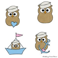 Matrosen Eulen Doodle Stickdateien Set von Stickdesign Kerstin Bremer. Anchors aweigh! Sailors owls doodle appliqué embroidery for embroidery machines.   #maritimes  #nautical  #embroiderydesign #maritime